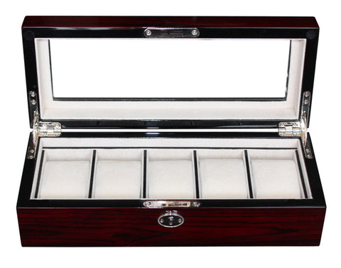 5 Watch Cherry Lacquer Wood Watch Display Case and Storage Organizer Box