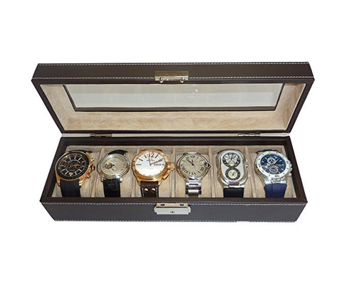 6 Watch Brown Leatherette Watch Display Case and Storage Organizer Box