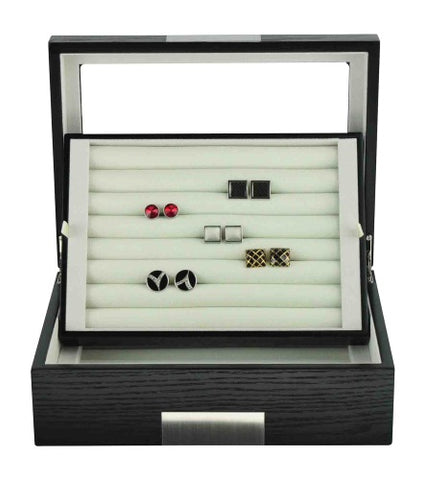 Black Ebony Wood Cufflink Case & Ring Storage Organizer with Stainless Steel Engravable Design Accent Men's Jewelry Box for 72 Cufflinks