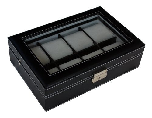8 Watch Black Leatherette Watch Display Case For Oversized