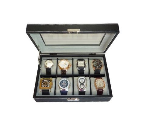 8 WATCH BLACK LEATHERETTE WATCH DISPLAY CASE FOR OVERSIZED WATCHES