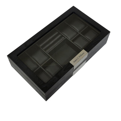 Personalized 8 Ebony Black Wood Watch Box Display Cufflink Case Storage Jewelry Organizer with Glass Top, Stainless Steel Accents