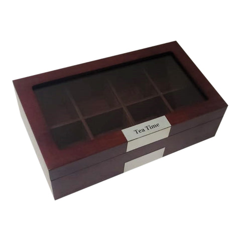 8 Piece Personalized Cherry Wood Tea Box Storage Organizer Chest Box Gourmet Tea Glass Top Display