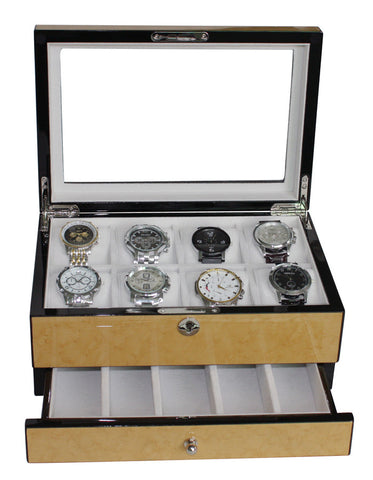 8 Watch Birch Lacquer Watch Display Box for Oversized Watches