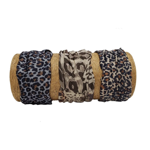 "Bamboo Trading Company Boho Wide Headband - Set of 3 Animal Print Headwraps - 16""L x 9""W"