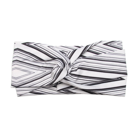 Banded Baby Twist Knot Black and White Diamond Stripe Boho Headband