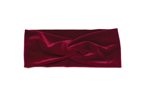 Banded Baby Twist Knot Velvet Headwrap Red Claret Boho Winter Headband