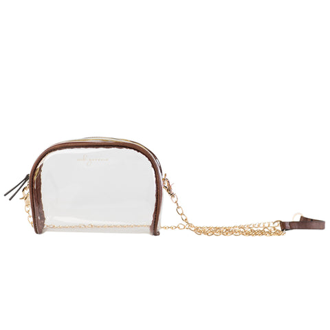 MB Greene Designer Clear Stadium Approved Large Purse Cross Body Bag with Chain for Concerts and Sporting Events