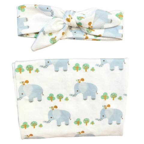 Headbands of Hope Baby Swaddle Blanket and Infant Headband Matching Set in Grey Elephant Pattern