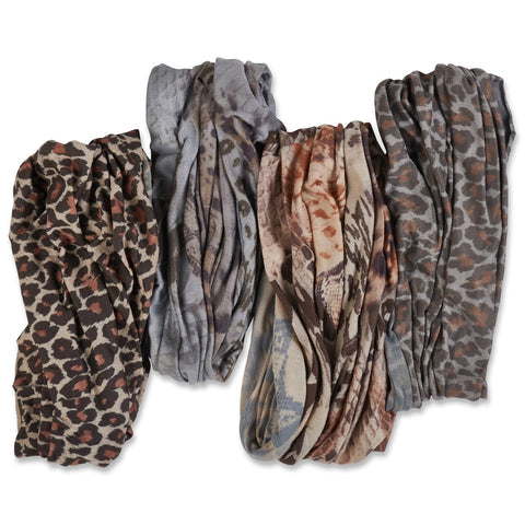 Bamboo Trading Company Boho Wide Headbands - Set of 4 Animal Print Headwraps