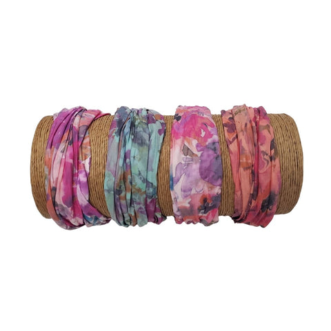 Bamboo Trading Company Boho Wide Headbands - Set of 4 Autumn Tie Dye Print Headwraps