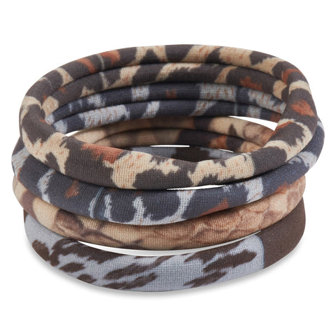 Bamboo Trading Company Boho Hairbands Hairties - Set of 8 Animal Print Hairwraps - Leopard, Cheetah, Snake Print