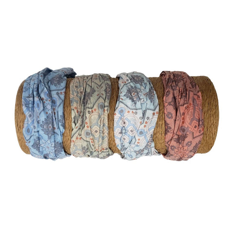 Bamboo Trading Company Boho Wide Headbands - Set of 4 Abstract Geometric Print Headwraps