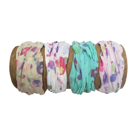 "Bamboo Trading Company Boho Wide Headbands - Set of 4 Retro Dot Print Headwraps - 16"" L x 9"" W - Beige, Pink, White, Aqua Tones"