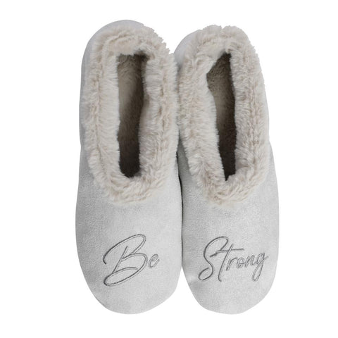 "Faceplant Dreams Slipper Footsies - ""Be Strong"""