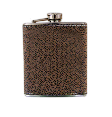 Bellemonde Brown Scotch Grain Stainless Steel Flask