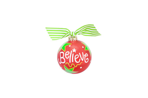 Coton Colors Believe Christmas Glass Ornament