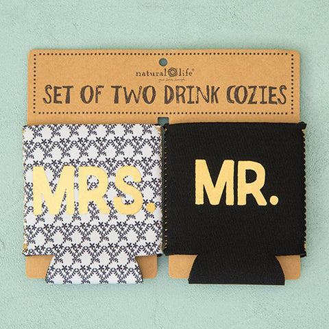 "Natural Life ""Mrs. & Mr."" Set of 2 Can Cozies"