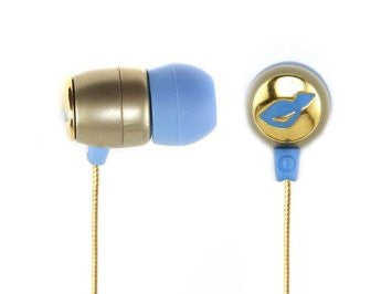 Chicbuds Portable Fauvette Blue Gold Earbuds with Microphone for MP3, iPod, iPhone, CD Player, DVD Player, Laptop