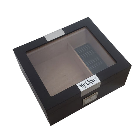 Personalized Cigar Humidor with Hygrometer & Humidifier Box Holds 25-50 Cigars