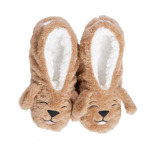 Faceplant Dreams Dog Tired Slipper Footsies - Brown