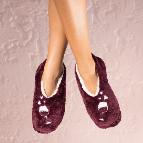 "Faceplant Dreams Slipper Footsies - ""Wine a Little Laugh A Lot"""
