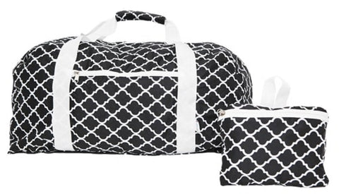 FashionIt Folding Duffle Bag- Christina Black & White