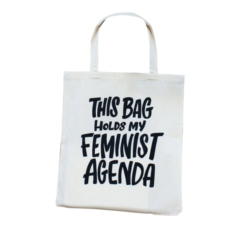 Ladyfingers Letterpress Reusable Cotton Tote Bag - Feminist Agenda
