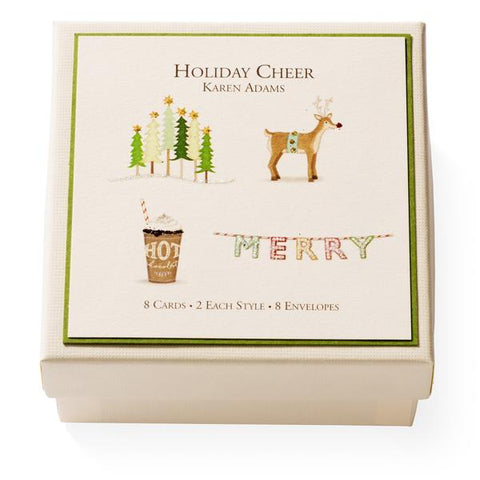 "Karen Adams Gift Enclosure Box ""Holiday Cheer"" 8 Assorted Cards with Vellum Envelopes"