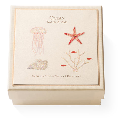 "Karen Adams ""Ocean"" Gift Enclosure Box of 8 Assorted Cards with Envelopes"