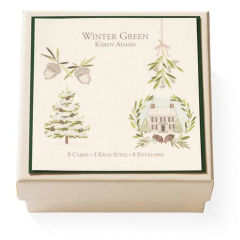 "Karen Adams Gift Enclosure Box ""Winter Green"" 8 Assorted Cards with Vellum Envelopes"