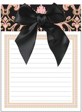 Anna Griffin Note Pad With Bow Black Pink