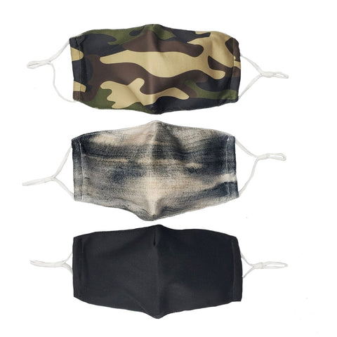 Headbands of Hope Set of 3 Fashion Cloth Face Mask - Camo, Stormy Grey, Solid Black
