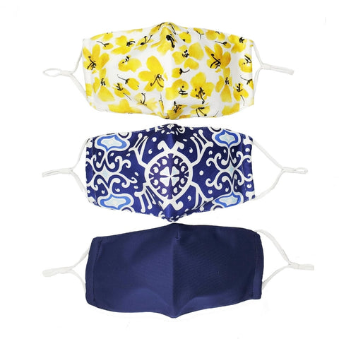 Headbands of Hope Set of 3 Fashion Cloth Face Mask - Boho, Floral, Solid Navy