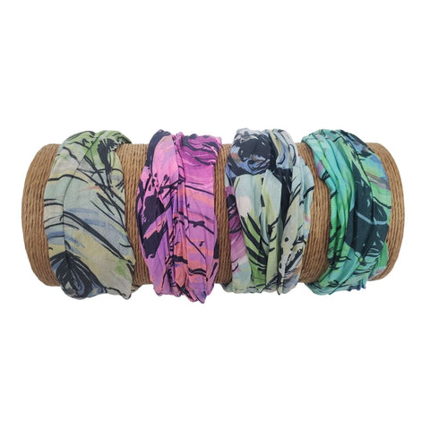 Bamboo Trading Company Boho Wide Headbands - Set of 4 Brush Strokes Print Headwraps