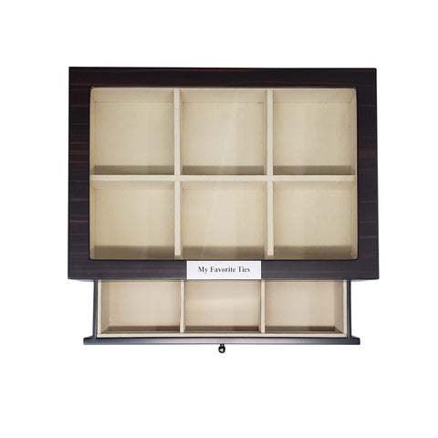 12 Piece Personalized Ebony Wood Tie Display Case With Drawer