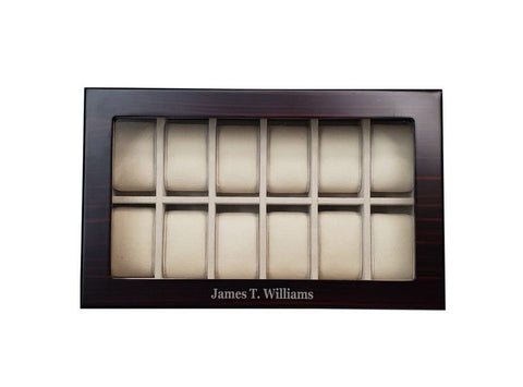 12 Piece Ebony Wood Personalized Watch Display Case and Storage Organizer Box