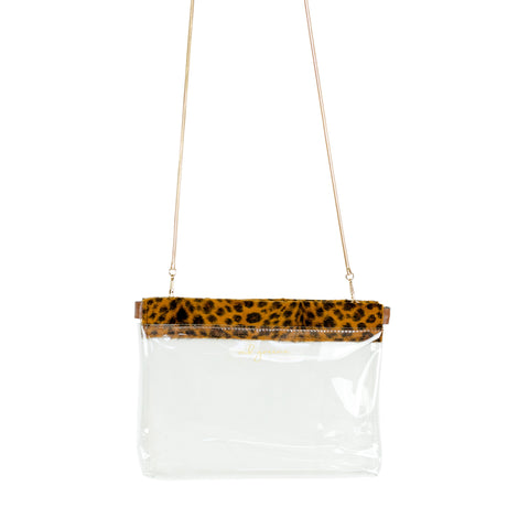 MB Greene Designer Clear Stadium Approved Hinged Purse Leopard Trim Cross Body Bag with Chain for Concerts and Sporting Events
