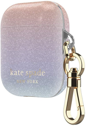 Kate Spade New York Ombre Glitter Case for AirPods 2 & 1 with Keychain (Front LED Visible)