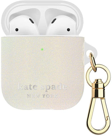 Kate Spade New York White Glitter Case for AirPods 2 & 1 with Keychain (Front LED Visible)