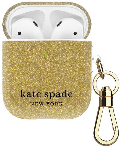 Kate Spade New York Gold Glitter Case for AirPods 2 & 1 with Keychain