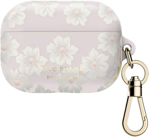 Kate Spade New York Hollyhock  Floral Clear Case for AirPods Pro with Keychain