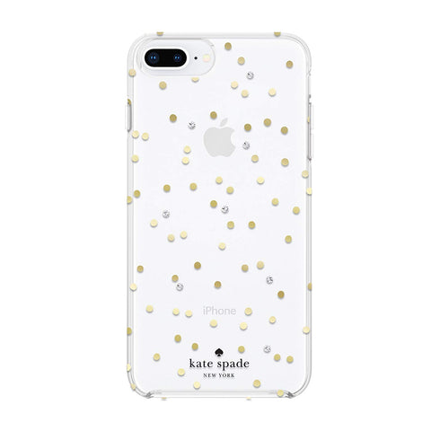 Kate Spade New York Cell Phone Case for iPhone 8 Plus/7 Plus/6 Plus/6s Plus - Multi Scatter Dot Gold with Gems