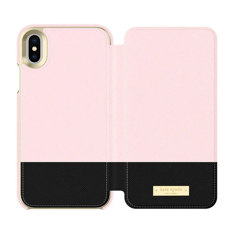 Kate Spade New York iPhone X/XS Folio Case - Color Block Rose Quartz/Black/Gold Logo Plate