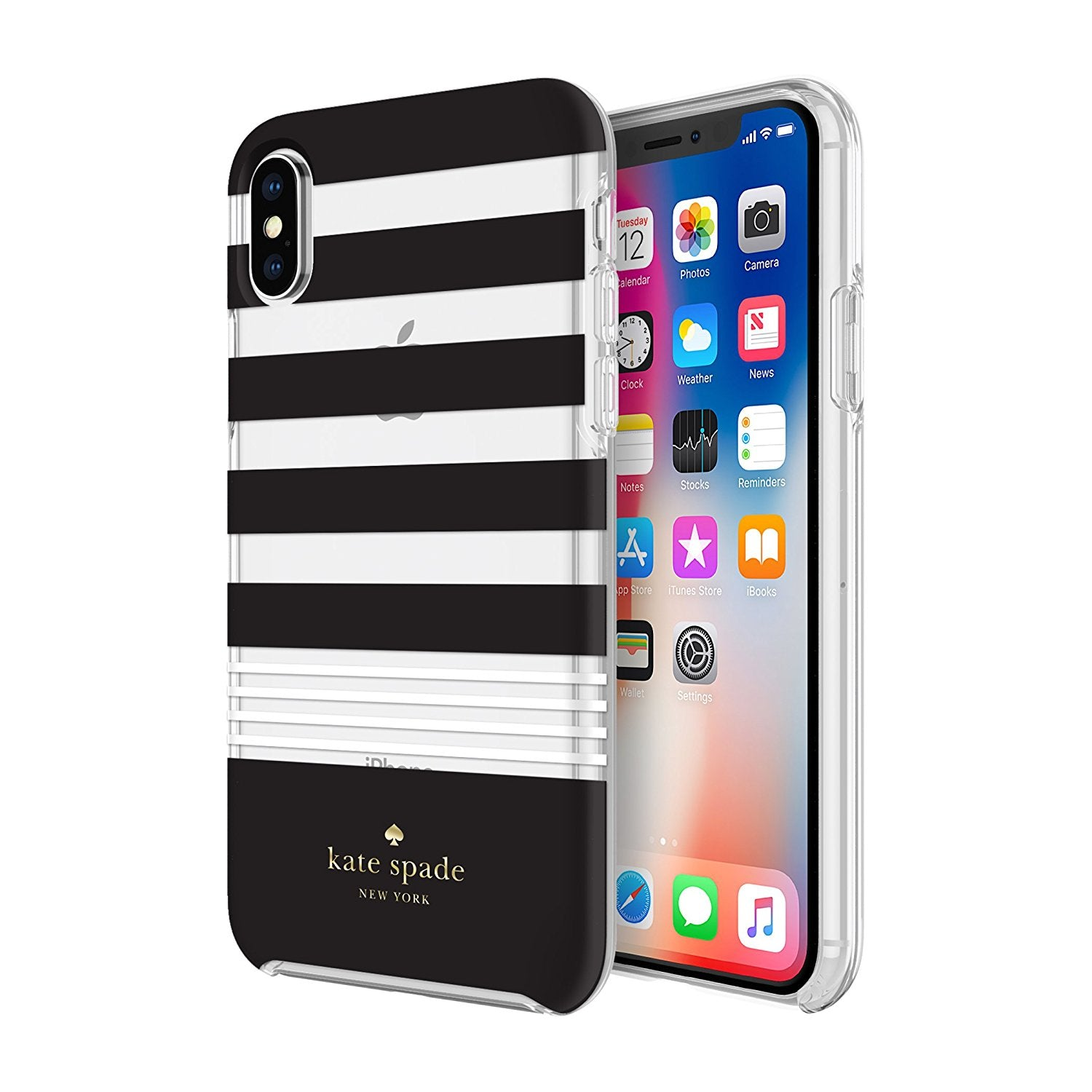 promo code 601ba 964e3 Kate Spade New York iPhone X Case - Clear Black and White Stripes