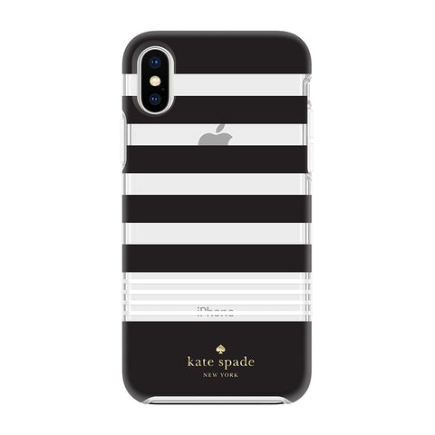 Kate Spade New York iPhone X Case - Clear Black and White Stripes