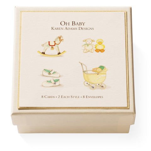 "Karen Adams ""Oh Baby"" Gift Enclosure Box of 8 Assorted Cards with Envelopes"