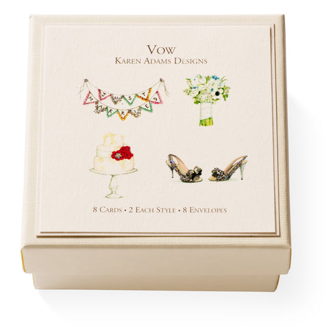 "Karen Adams ""Vow"" Gift Enclosure Box of 8 Assorted Cards with Envelopes"