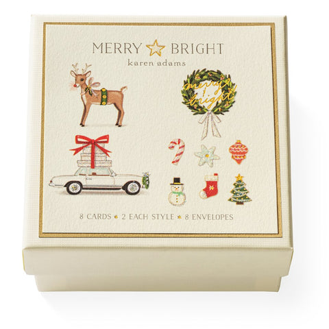 "Karen Adams ""Merry & Bright"" Gift Enclosure Box of 8 Assorted Cards with Envelopes"