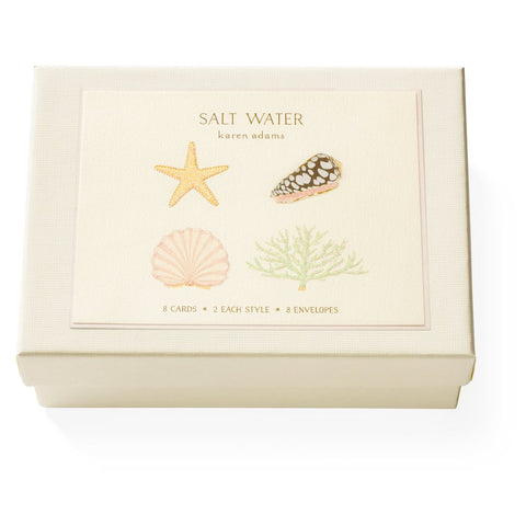 "Karen Adams Box of 8 ""Salt Water"" Notecards with Matching Envelopes"